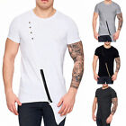 Fashion MEN Irregular Hem Tee Short Sleeve Muscle Summer Zipper T Shirt Tops Tee