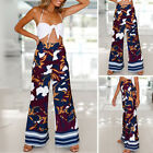 Womens Boho Summer Trousers Wide Leg High Waist Long Loose Sports Harem Pants