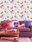 "Hand Painted Effect, ""Blooms & Butterflies""  Wallpaper in Green, Pink & Blue"