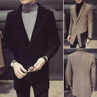 Mens Warm Winter Trench Coat Overcoat Collared One Button Business Outerwear New
