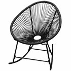 vidaXL Garden Rocking Chair Poly Rattan Patio Sun Lounger Seat Black/White✓