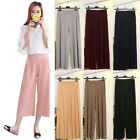 Women Stretch Pleated High Waist Wide Leg Ankle-Length Trousers Casual Pants New