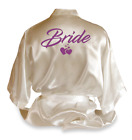 Personalised Love Heart Satin Wedding Robe Dressing Gown Bride Wear Gift - DE2