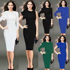 Women Elegant Ruffle Sleeve Ruched Work Cocktail Party Prom Bodycon Sheath Dress