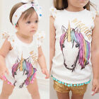 US Big/Little Sister Baby Girl Unicorn Romper T-shirt Top Family Matching Outfit