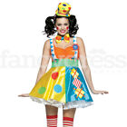 Ladies Deluxe Diamond Dot Clown Fancy Dress Costume Circus Comedy Jester 8-12 NE