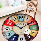 Unique Printed Clock Pattern Room Carpet Round Shaped Home Floor Mat Decorations