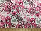 Valentine Day Fabric Paisley Heart Floral Pink White Fabric By the Half Yard