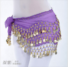 128 Gold Coins Hip Belt Chain Chiffon Hip Scarf Belly Dance Costumes Dancewear