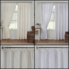 Woven Lined Voile Pair of Curtains With Embroidered Leaf Design In Cream & White