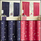 CHILDRENS KIDS BLOCKOUT CURTAINS WITH METALLIC MOON & STARS DESIGN IN BLUE, PINK