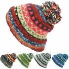 Chunky Wool Knit Beanie Bobble Hat Men Ladies Warm Winter ABSTRACT PATTERN Lined