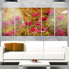 Designart 'Spring Garden with Little Red Flowers' Large Floral Glossy Metal Wall