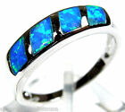 Blue Fire Opal Inlay Solid 925 Sterling Silver Band Ring size 6,7,9