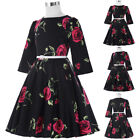 Girl's Kids Retro Flower Bell Sleeve Cotton Party Dress Vintage Evening Dress