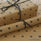Black Spots Patterned Kraft Brown Wrapping Paper 5 / 10 mtrs Vintage Style Wrap