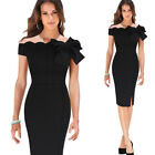 Women Sexy Off Shoulder Scalloped Bow Vintage Cocktail Party Wiggle Pencil Dress