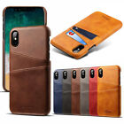For Apple iPhone X Thin Leather Card Holder Case Cover Skin + TEMPERED GLASS UK