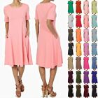 TheMogan S~XL Womens Short Sleeve Stretch Cotton Pocket A-line Fit & Flare Dress