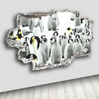 C267 Penguins Bird Animal Snow Decal Canvas 3D Smashed Hole Wall Vinyl Stickers