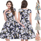 Women Dress Size Pinup Sleeve Floral Retro Vintage Party Swing Hollowed 50s 60s