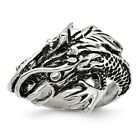 Stainless Steel Antiqued Dragon Ring