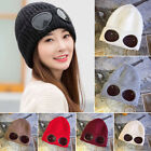 Mens Womens Unisex Goggle Beanie Knitted Woolly Winter Warm Chunky Beany Hat EW