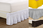 "Elastic Wrap Around Dust Ruffled Bed Skirt Bedding Bed Dressing Easy Fit 14""Drop image"