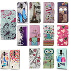 For LG Tribute Dynasty Leather Wallet Case Pouch Flip Phone Cover + Screen Guard