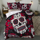Sugar Skull Luxury Duvet Cover Rebel Tattoo Quilt Cover Pillow Cases Bedding Set