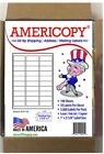 "Americopy Made in USA Labels for Inkjet/Laser 30UP 2 5/8 x 1"" 3,000/Pack"