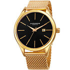 Akribos XXIV Men's Quartz Date Stainless Steel Mesh Gold-Tone Bracelet Watch image