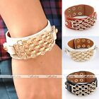 1x Mens Womens Real Cow Genuine Leather Link Chain Wristband Bracelet Cuff Gift
