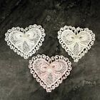 12 x Heart Lace Pearl Appliques Sewing Wedding Cards Craft Ivory White Pink 5cm