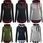 Women Casual Long Sleeve Funnel Neck Plaid Hoodies Sweaters Plus Size
