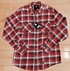 KR3W MENS  CASUAL FLANNEL LONG SLEEVE SHIRT BUTTON UP RED WHITE MENS SZ M - 2XL