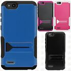 ZTE Blade Vantage Hybrid Silicone Rubber Skin Hard Kick Stand Cover+Screen Guard