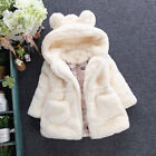 Cute Baby Girl Infant Faux Fur Hooded Winter Warm Coat Jacket Thick Outwear