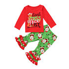 Christmas Kids Baby Girl Xmas Santa Long Sleeve Top Pants Outfit Set Clothes USA