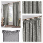 "Fusion Eastbourne Woven Jacquard Fully Lined 3"" Pencil Pleat Curtains Silver"