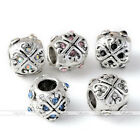 5X Silvery Heart Carved Flower Crystal Big Hole European Bead Fit Charm Bracelet