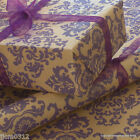 Purple Baroque Christmas Patterned Kraft Brown Wrapping Paper 5 or 10 metres