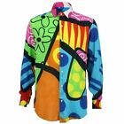 Mens Shirt Loud Originals TAILORED FIT Bright Blue Retro Psychedelic Fancy