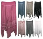 New Womens Italian Lagenlook Quirky Cross Layer Stretchy Harem Linen Trousers