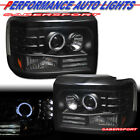 Pair Black Halo Projector Headlights w/ LED Parking Lights for 92-96 Bronco F150