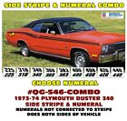 QG-546 COMBO 1973-74 PLYMOUTH DUSTER - SIDE STRIPE & NUMEAL CHOICE - LICENSED $183.31 CAD on eBay