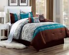 brown duvet sets king - 3PC ALEX #11 TURQUOISE BROWN CIRCLES Embroidered DUVET COMFORTER BED COVER SET