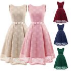 Vintage 50s Women A-Line Scoop Lace Dress Sleeveless with Belt Party Prom Dress