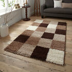 Think Rugs Majesty 2247A Shaggy Check Rug, Brown/Beige