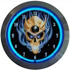 Neon Light Hard Rock Teenager Billiards Game Room 8 EIGHT BALL SKULL WALL CLOCK £64.99 GBP on eBay